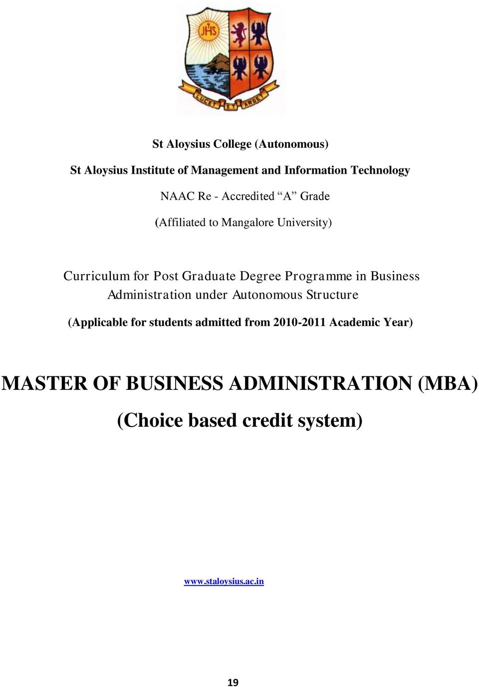 in Business Administration under Autonomous Structure (Applicable for students admitted from 2010-2011
