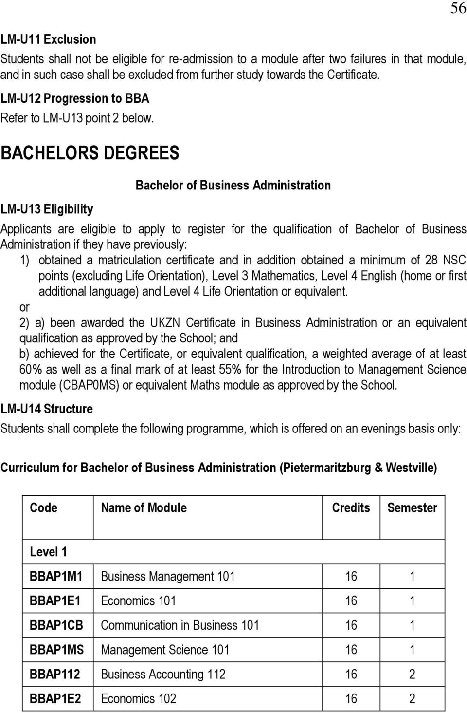 BACHELORS DEGREES LM-U13 Eligibility Bachel of Business Administration Applicants are eligible to apply to register f the qualification of Bachel of Business Administration if they have previously: