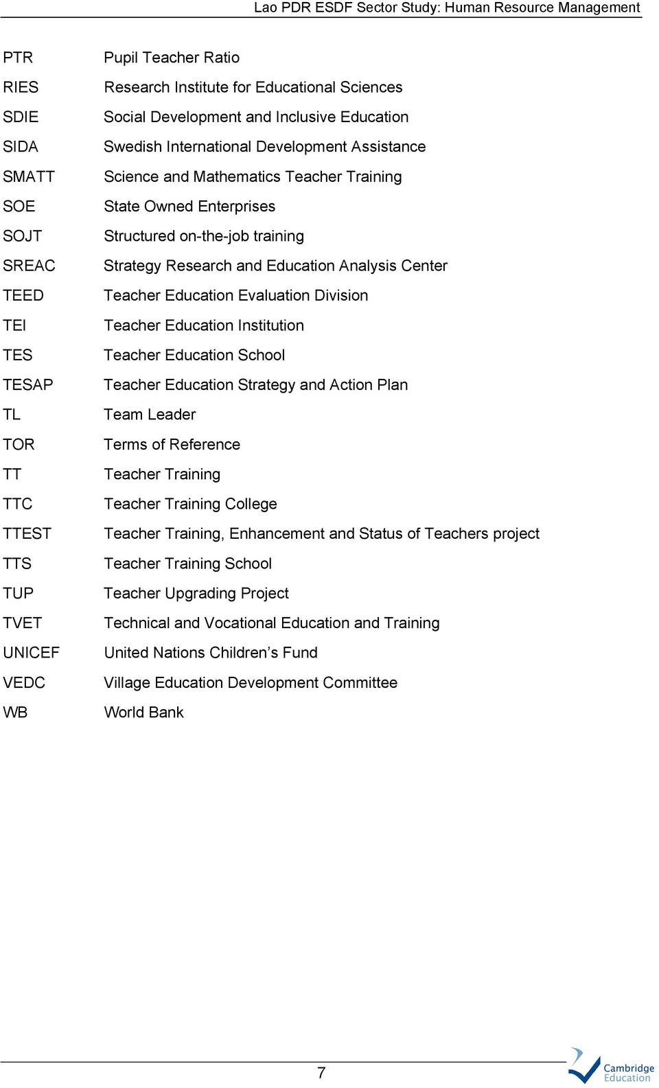 Analysis Center Teacher Education Evaluation Division Teacher Education Institution Teacher Education School Teacher Education Strategy and Action Plan Team Leader Terms of Reference Teacher Training