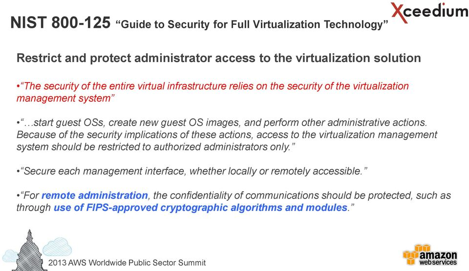 Because of the security implications of these actions, access to the virtualization management system should be restricted to authorized administrators only.