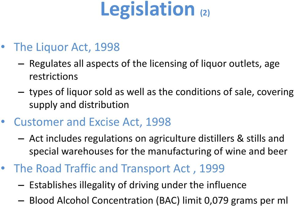 regulations on agriculture distillers & stills and special warehouses for the manufacturing of wine and beer The Road Traffic