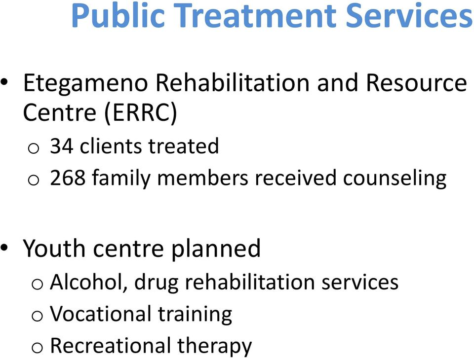 members received counseling Youth centre planned o Alcohol,