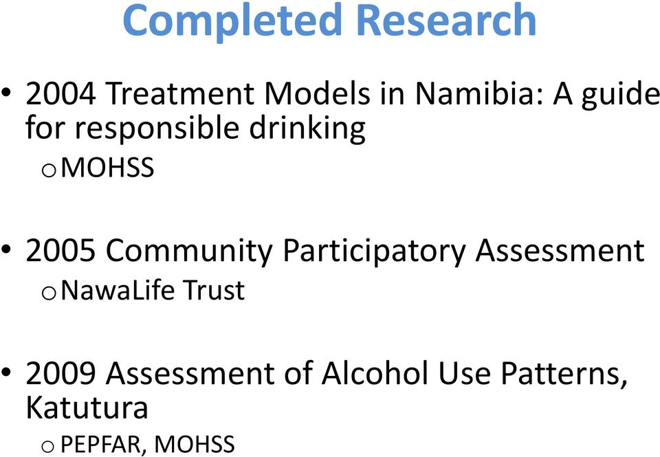 Community Participatory Assessment onawalife Trust