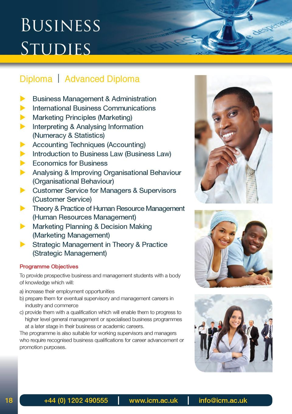 Managers & Spervisors (Cstomer Service) Theory & Practice of Hman Resorce Management (Hman Resorces Management) Marketing Planning & Decision Making (Marketing Management) Strategic Management in