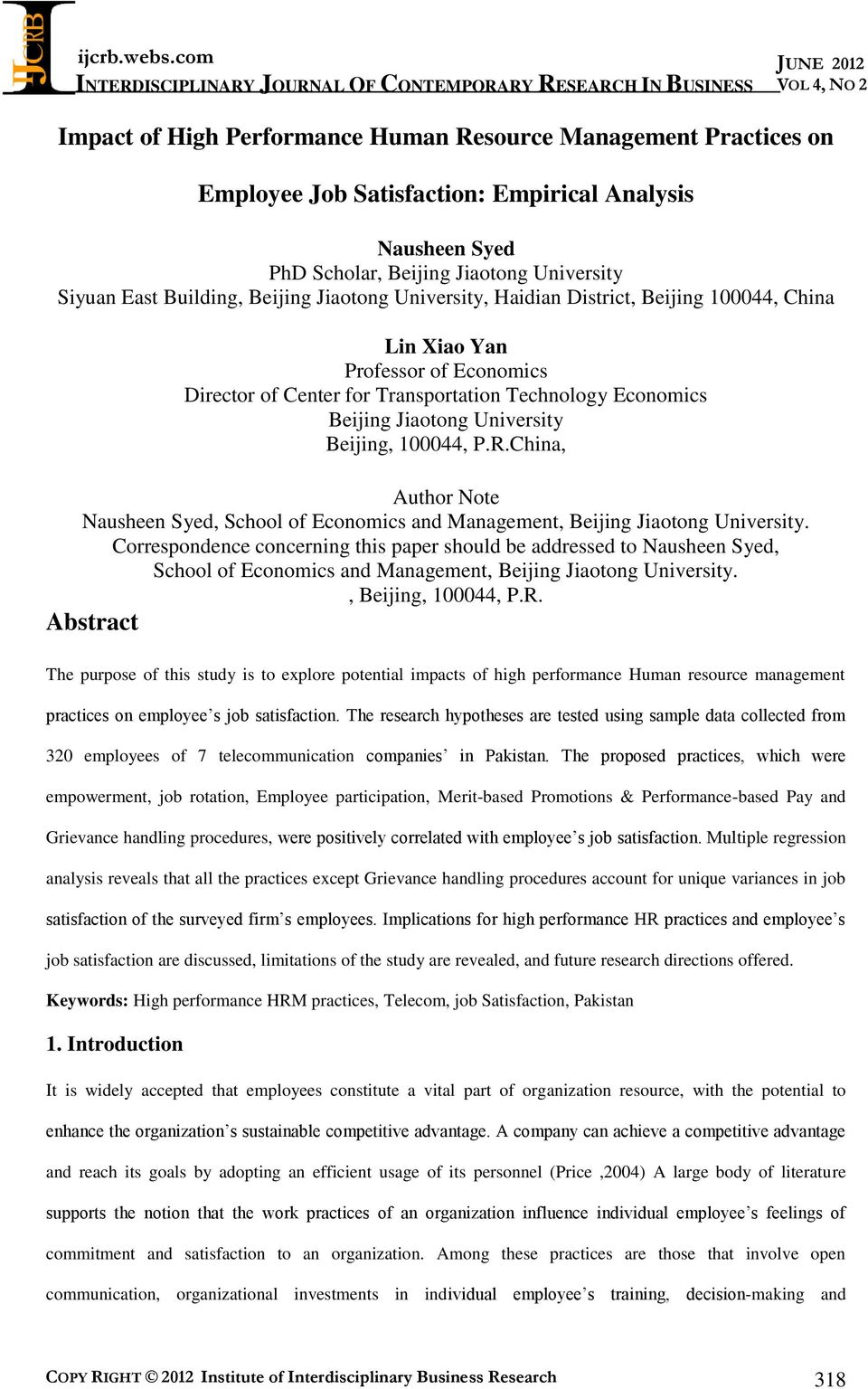 100044, P.R.China, Author Note Nausheen Syed, School of Economics and Management, Beijing Jiaotong University.