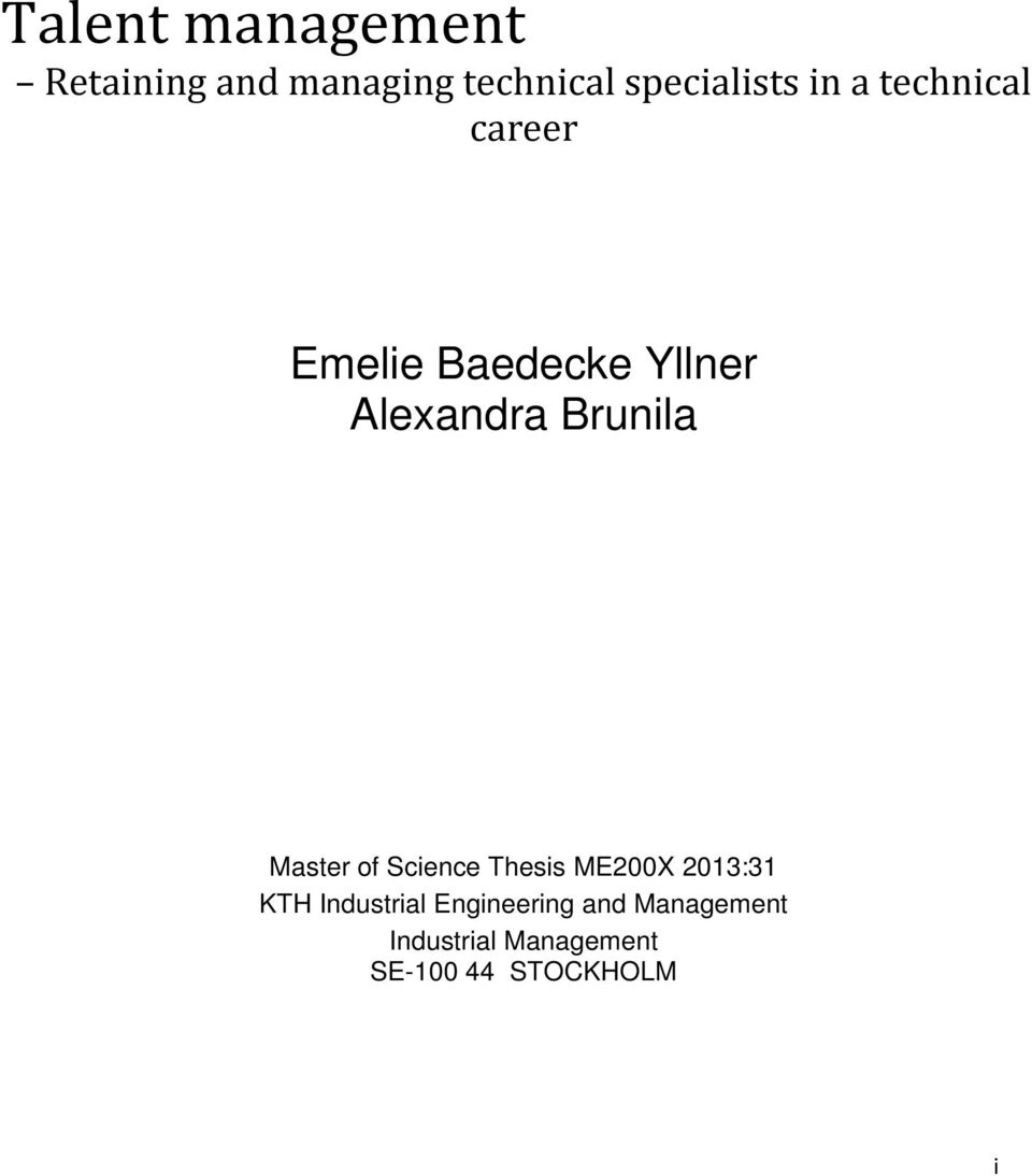 Master of Science Thesis ME200X 2013:31 KTH Industrial
