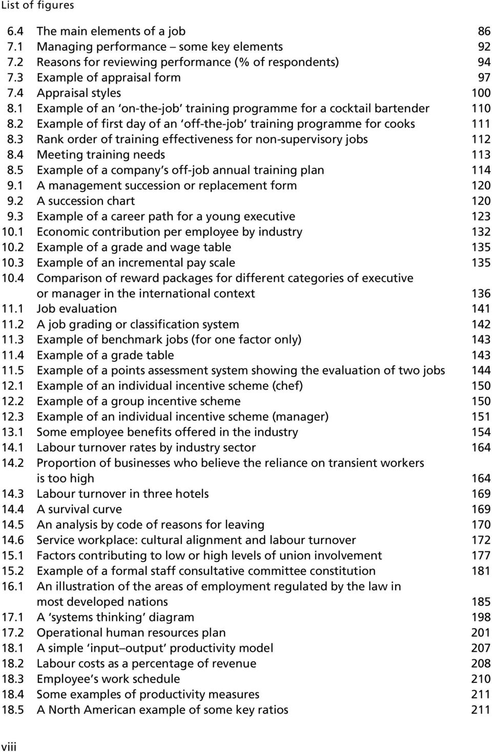 3 Rank order of training effectiveness for non-supervisory jobs 112 8.4 Meeting training needs 113 8.5 Example of a company s off-job annual training plan 114 9.