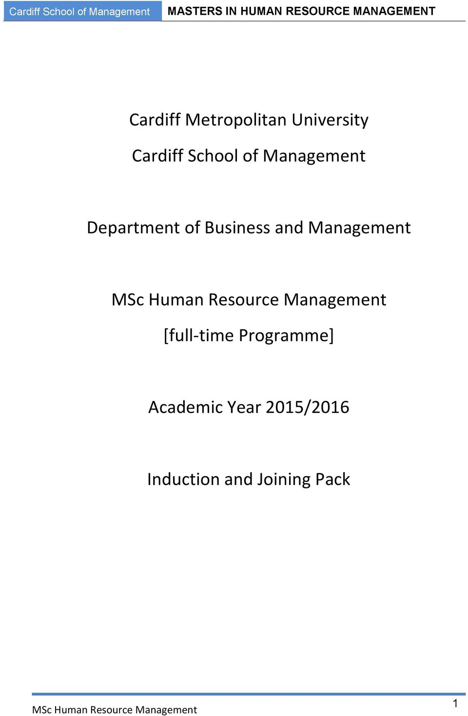 and Management [full-time Programme]