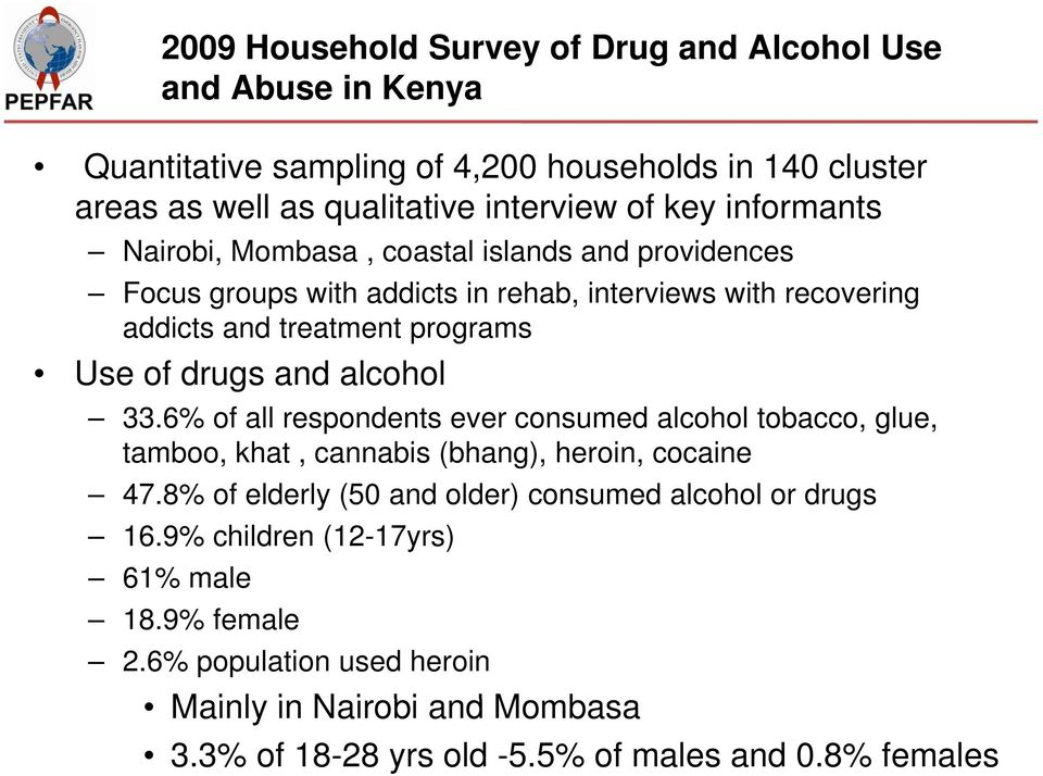 and alcohol 33.6% of all respondents ever consumed alcohol tobacco, glue, tamboo, khat, cannabis (bhang), heroin, cocaine 47.