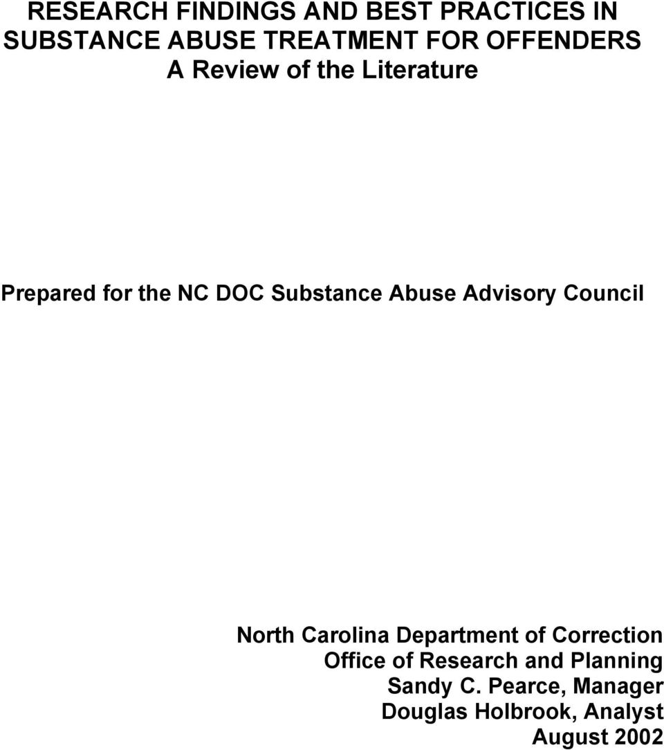 Abuse Advisory Council North Carolina Department of Correction Office of