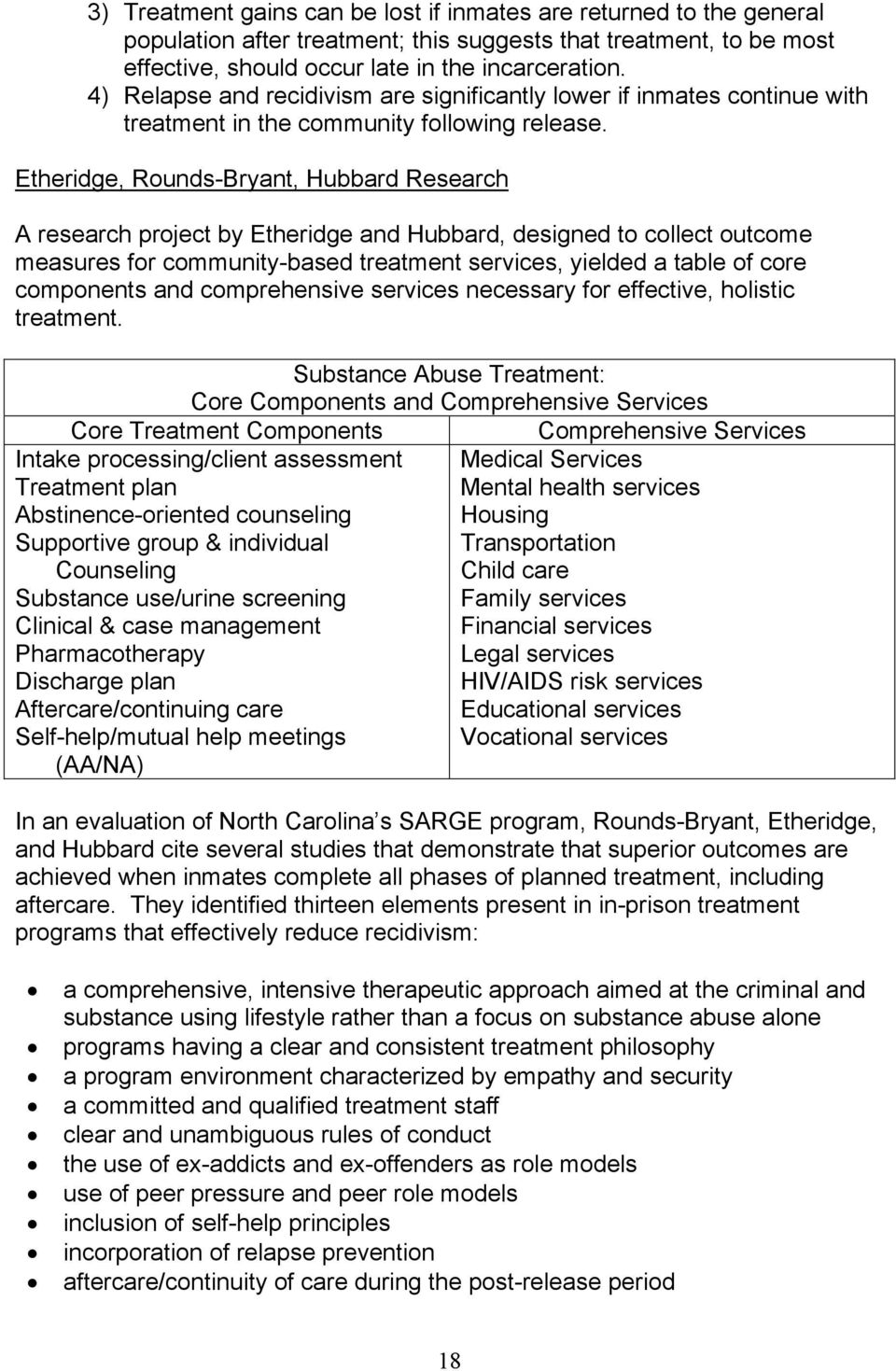 Etheridge, Rounds-Bryant, Hubbard Research A research project by Etheridge and Hubbard, designed to collect outcome measures for community-based treatment services, yielded a table of core components