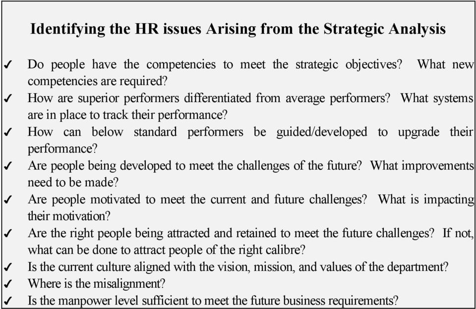 How can below standard performers be guided/developed to upgrade their performance? Are people being developed to meet the challenges of the future? What improvements need to be made?