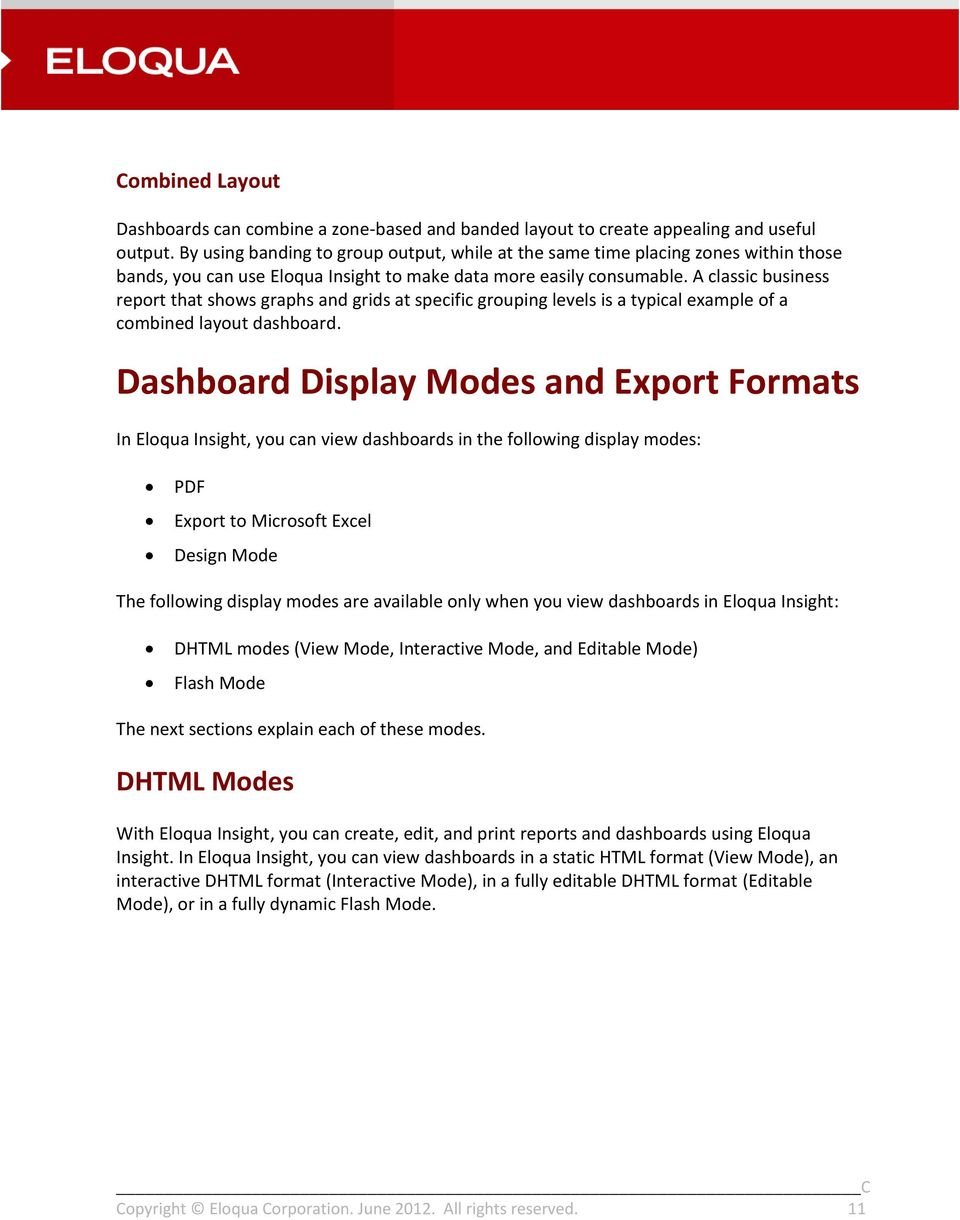 Eloqua Insight Advanced Analyzer User Guide PDF – Business Report Layout Example