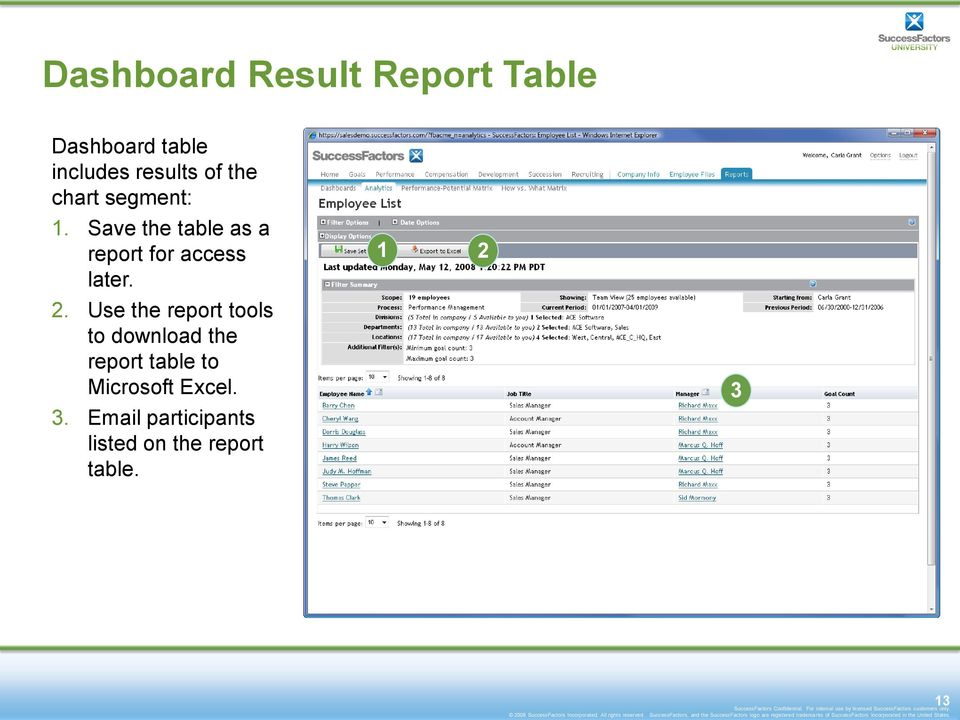 2. Use the report tools to download the report table to Microsoft