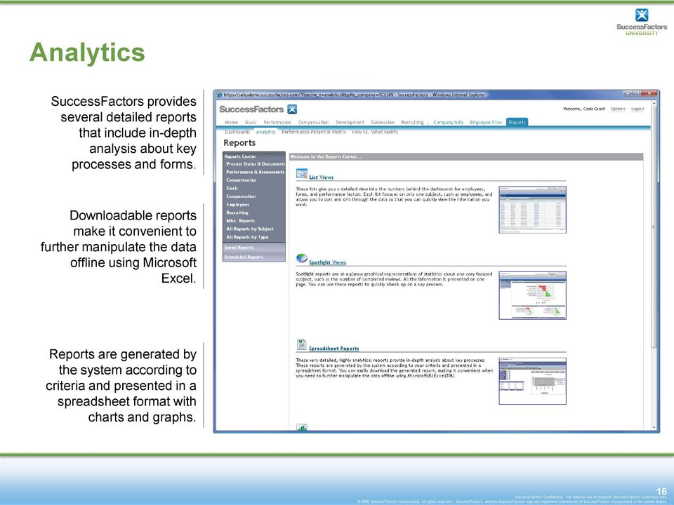 Downloadable reports make it convenient to further manipulate the data offline using