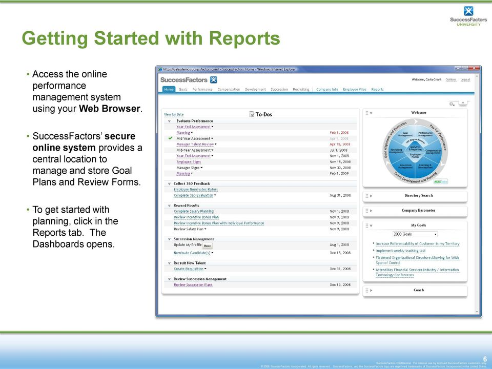 SuccessFactors secure online system provides a central location to manage