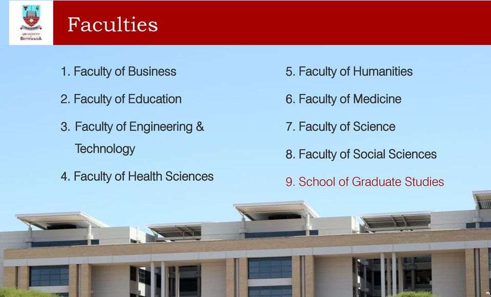 Faculty of Health Sciences 5. Faculty of Humanities 5. Faculty of Humanities 6. Faculty of Medicine 6. Faculty of Medicine 7.