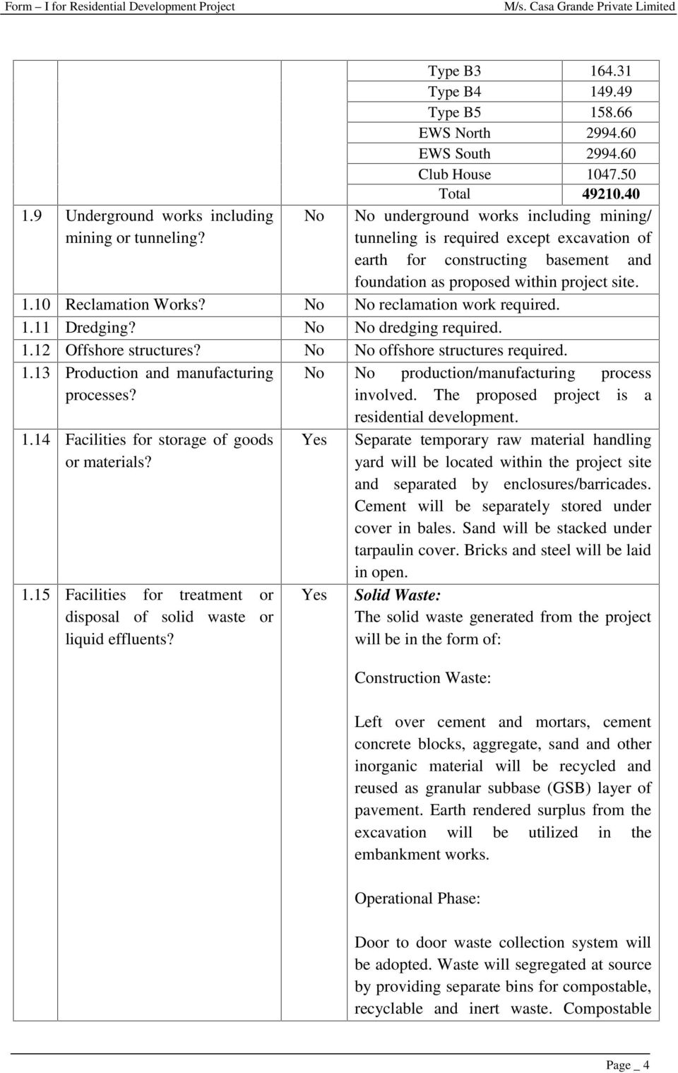 40 No underground works including mining/ tunneling is required except excavation of earth for constructing basement and foundation as proposed within project site. 1.10 Reclamation Works?