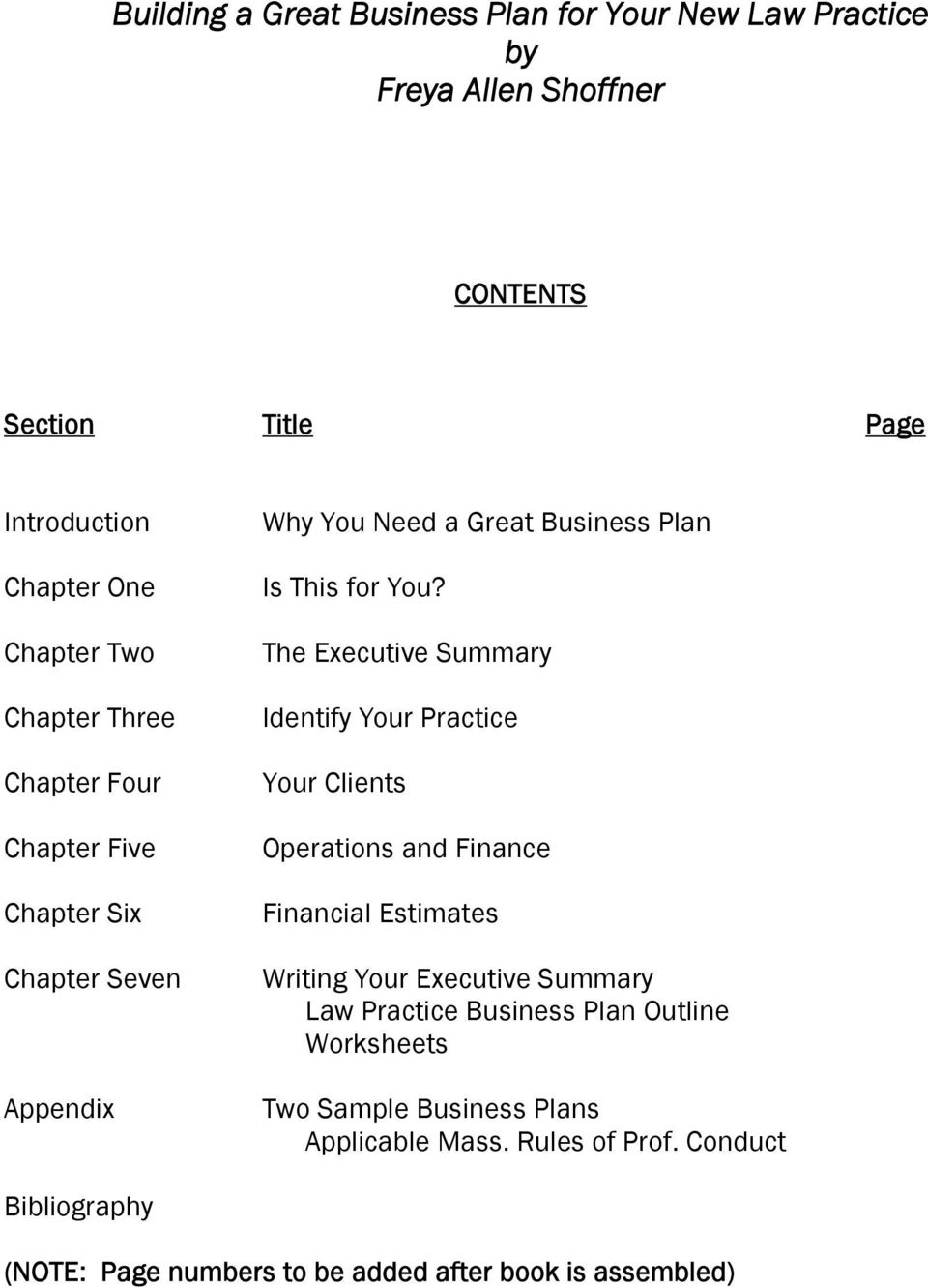 The Executive Summary Identify Your Practice Your Clients Operations and Finance Financial Estimates Writing Your Executive Summary Law Practice