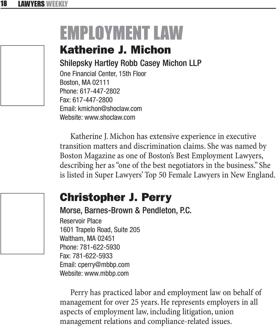 Michon has extensive experience in executive transition matters and discrimination claims.