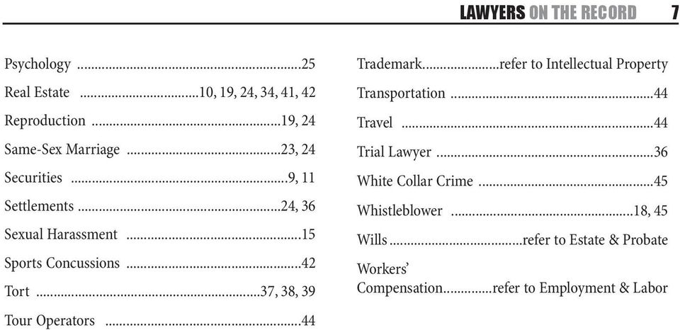 ..37, 38, 39 Tour Operators...44 Trademark...refer to Intellectual Property Transportation...44 Travel...44 Trial Lawyer.