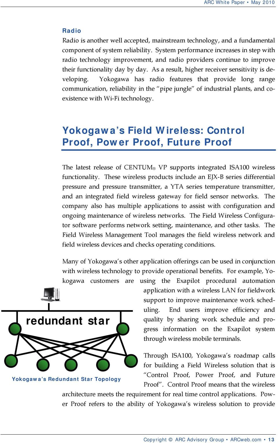Yokogawa has radio features that provide long range communication, reliability in the pipe jungle of industrial plants, and coexistence with Wi-Fi technology.