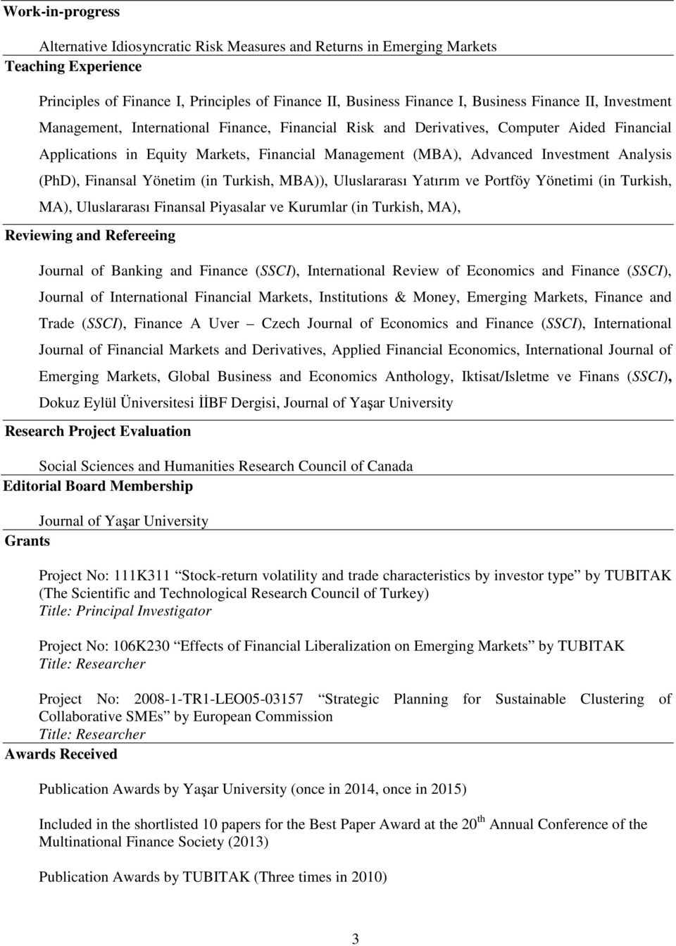 (PhD), Finansal Yönetim (in Turkish, MBA)), Uluslararası Yatırım ve Portföy Yönetimi (in Turkish, MA), Uluslararası Finansal Piyasalar ve Kurumlar (in Turkish, MA), Reviewing and Refereeing Journal