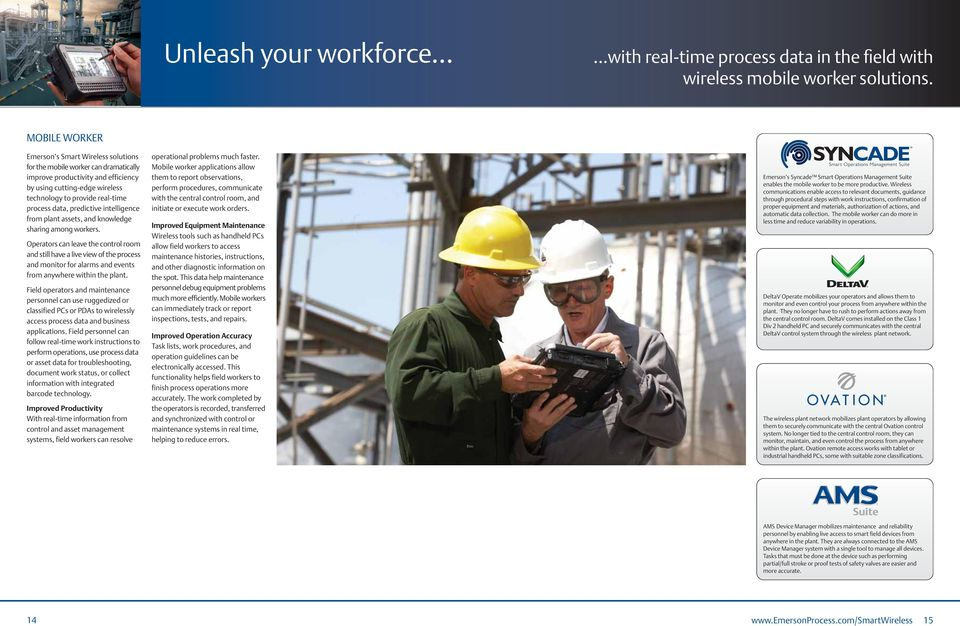 data, predictive intelligence from plant assets, and knowledge sharing among workers.