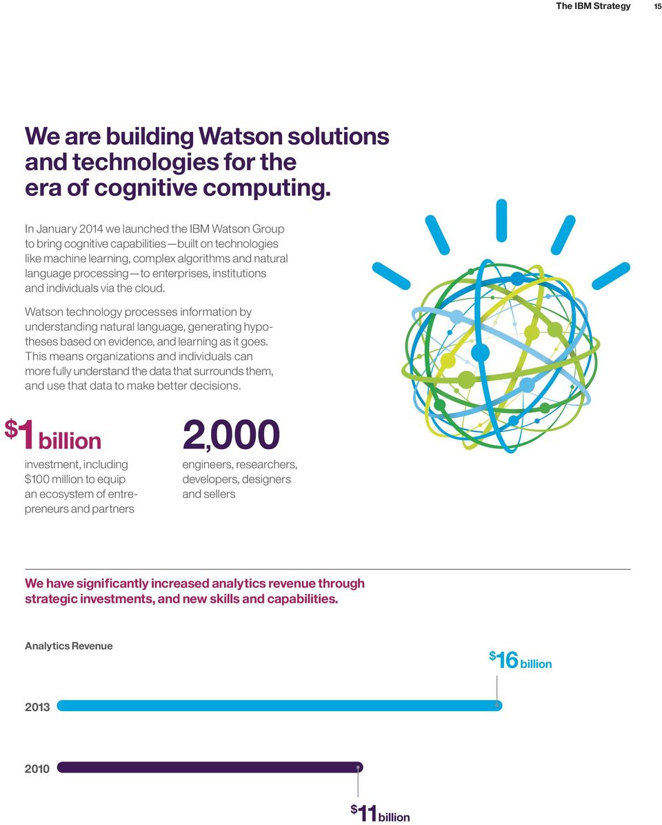 institutions and individuals via the cloud. Watson technology processes information by understanding natural language, generating hypotheses based on evidence, and learning as it goes.