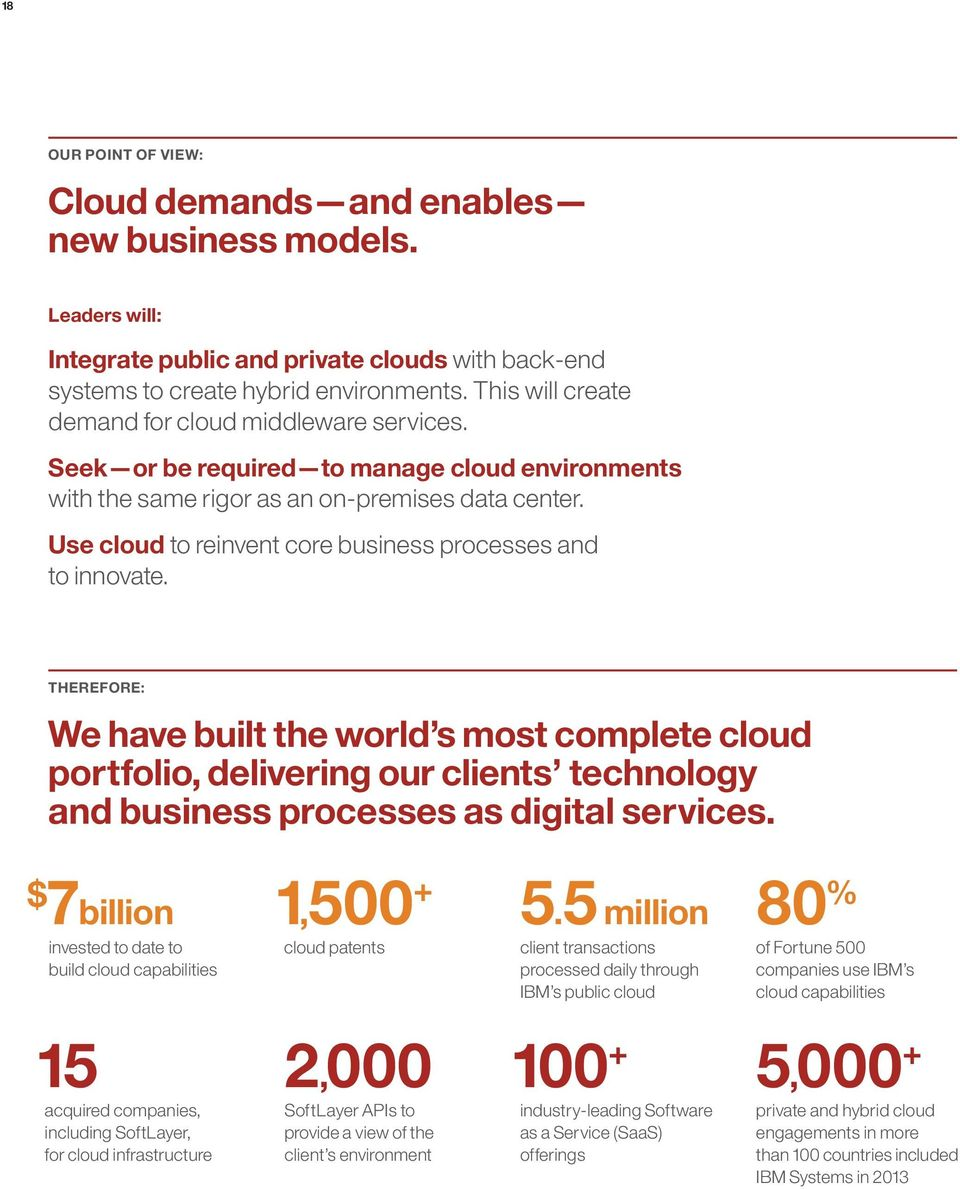 Use cloud to reinvent core business processes and to innovate.