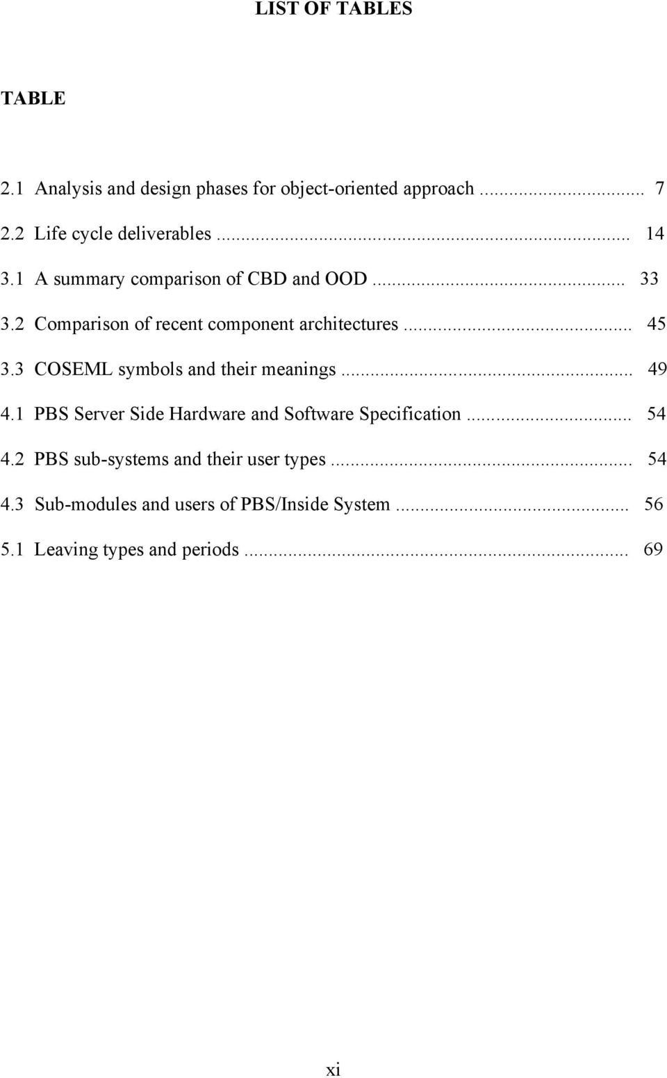 3 COSEML symbols and their meanings... 49 4.1 PBS Server Side Hardware and Software Specification... 54 4.