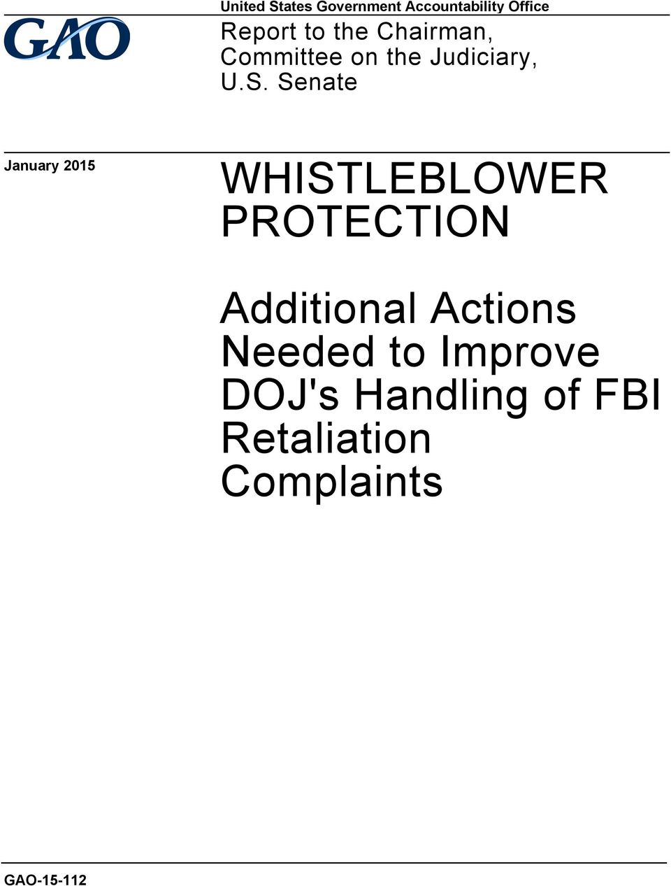 Senate January 2015 WHISTLEBLOWER PROTECTION Additional