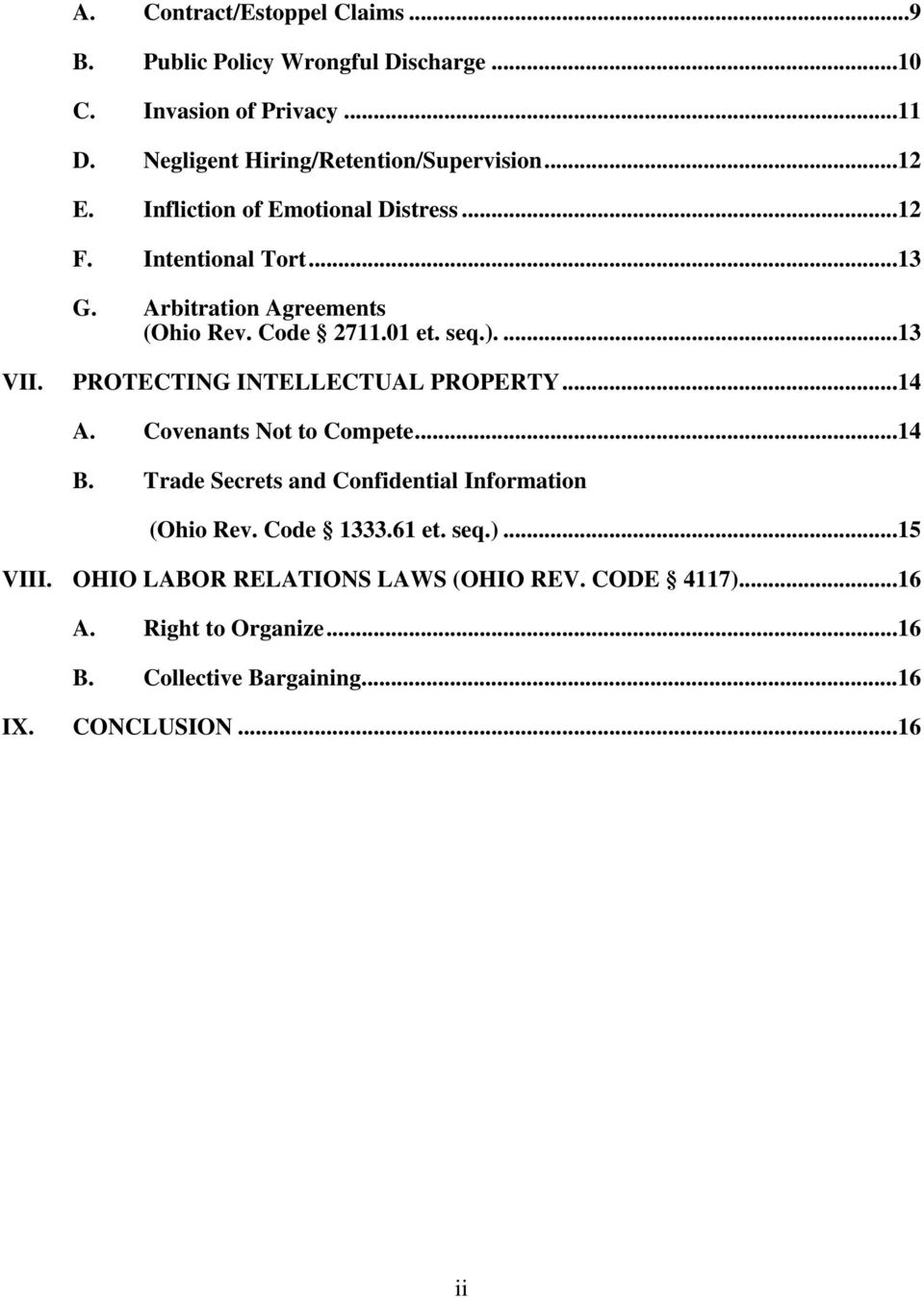 PROTECTING INTELLECTUAL PROPERTY...14 A. Covenants Not to Compete...14 B. Trade Secrets and Confidential Information (Ohio Rev. Code 1333.61 et.