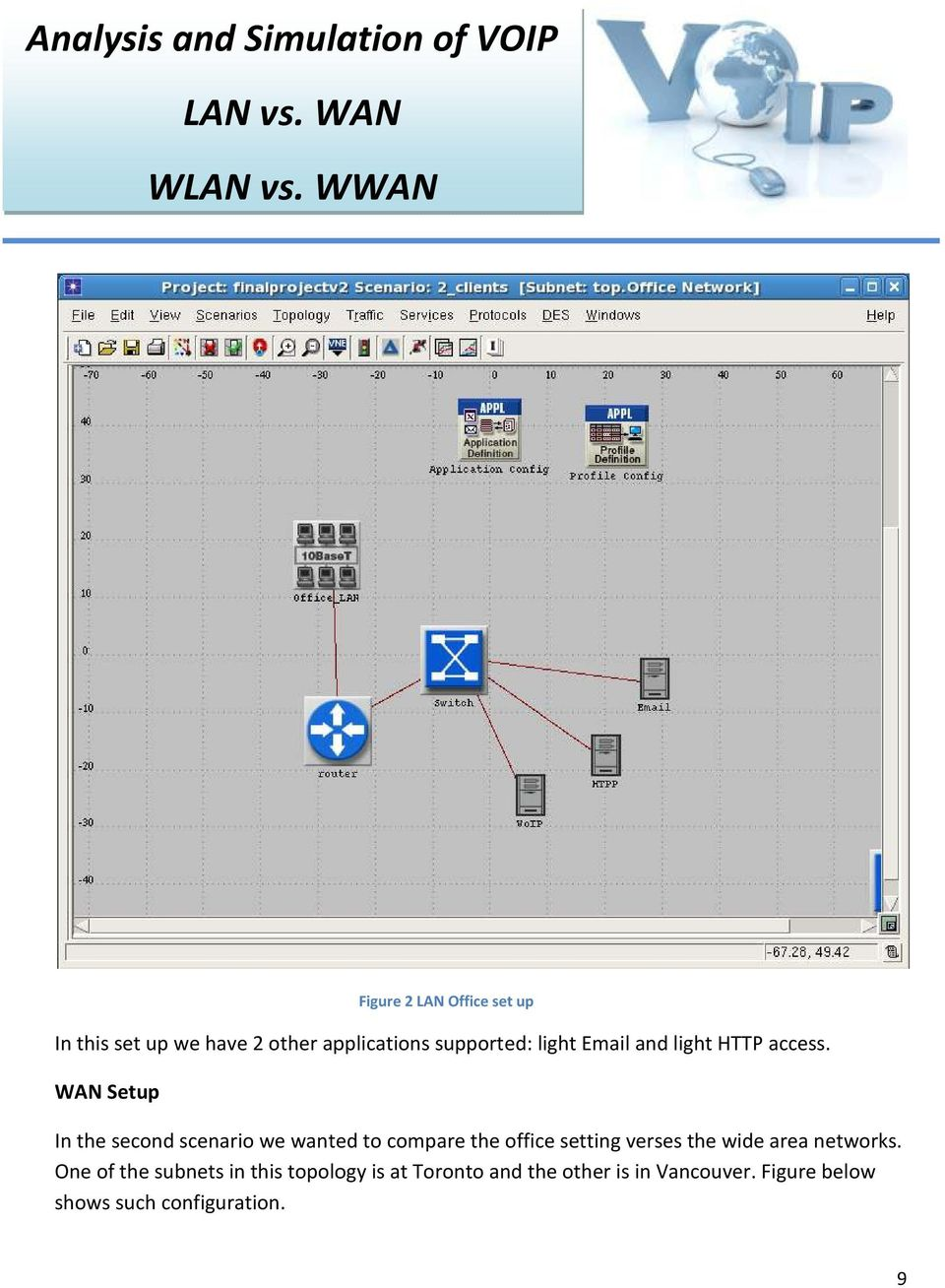 WAN Setup In the second scenario we wanted to compare the office setting verses the