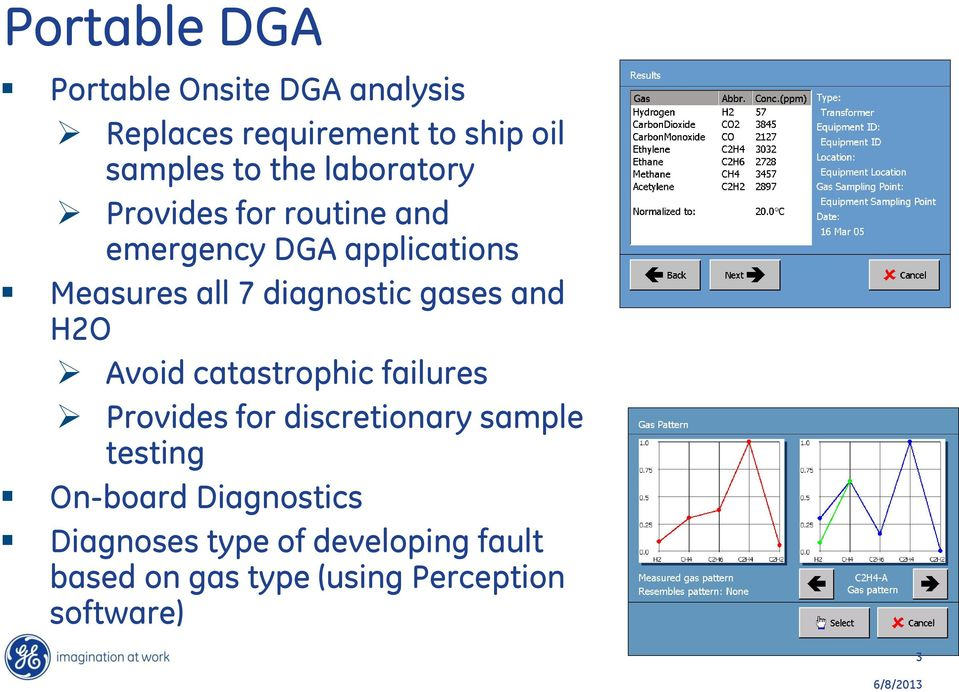 gases and H2O Avoid catastrophic failures Provides for discretionary sample testing On-board