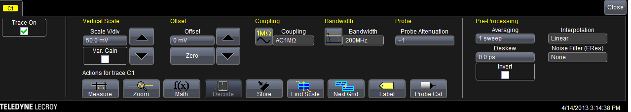 Based on the spectrogram, we can observe several basic operations of the system, which can be seen as continuous red stripes from the beginning until the end.