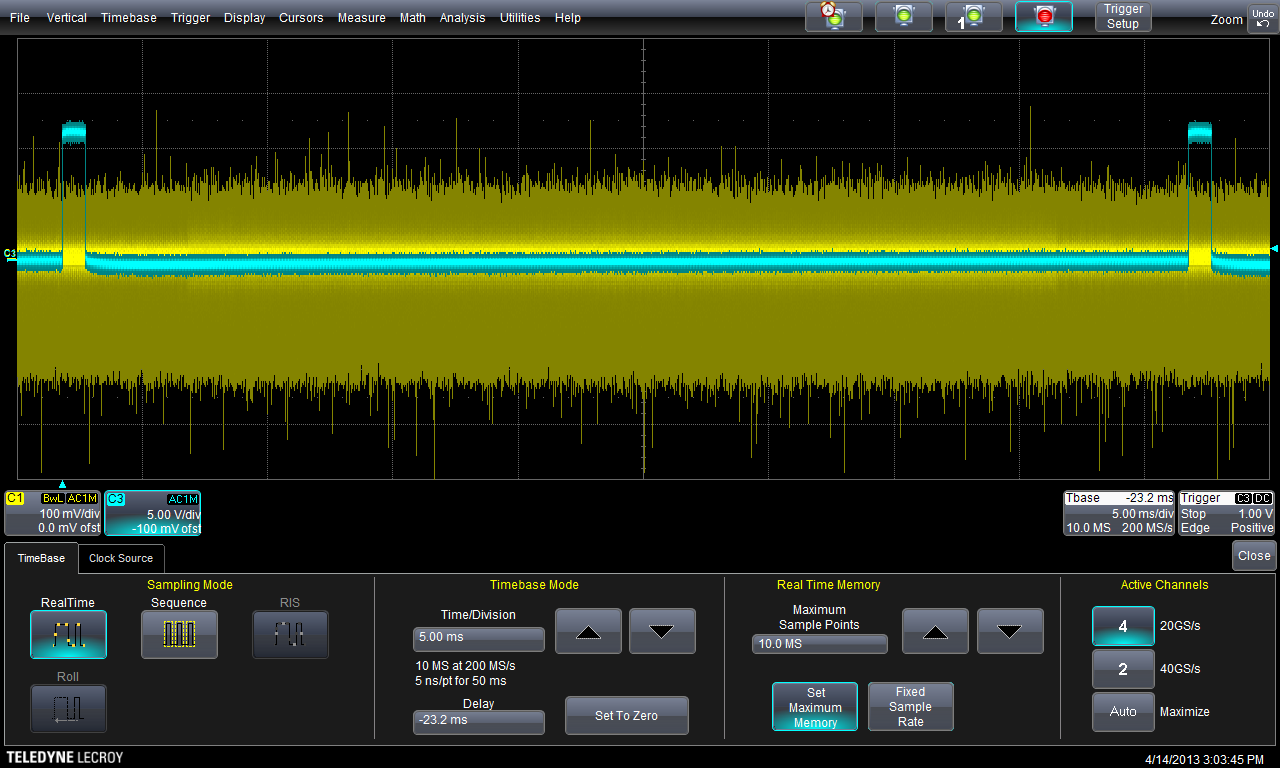 Figure 3.3: Trace after the 1st filter (sim80_2.5g_2.trc) As expected, the first filter successfully reduces the noise and other operations of the system.