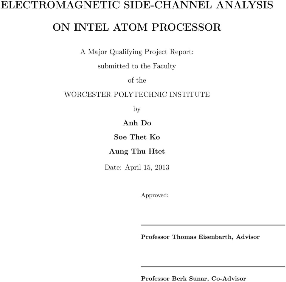 POLYTECHNIC INSTITUTE by Anh Do Soe Thet Ko Aung Thu Htet Date: April 15,