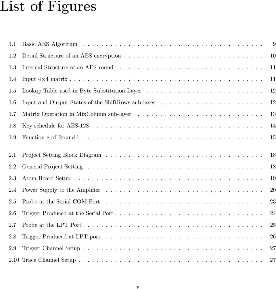6 Input and Output States of the ShiftRows sub-layer....................... 12 1.7 Matrix Operation in MixColumn sub-layer............................. 13 1.8 Key schedule for AES-128...................................... 14 1.