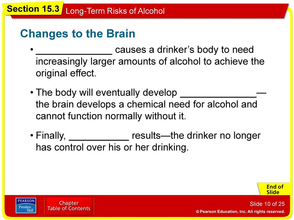 The body will eventually develop the brain develops a chemical need for alcohol and