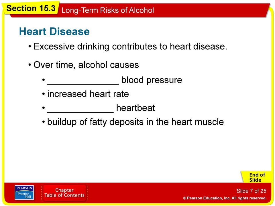 Over time, alcohol causes blood pressure