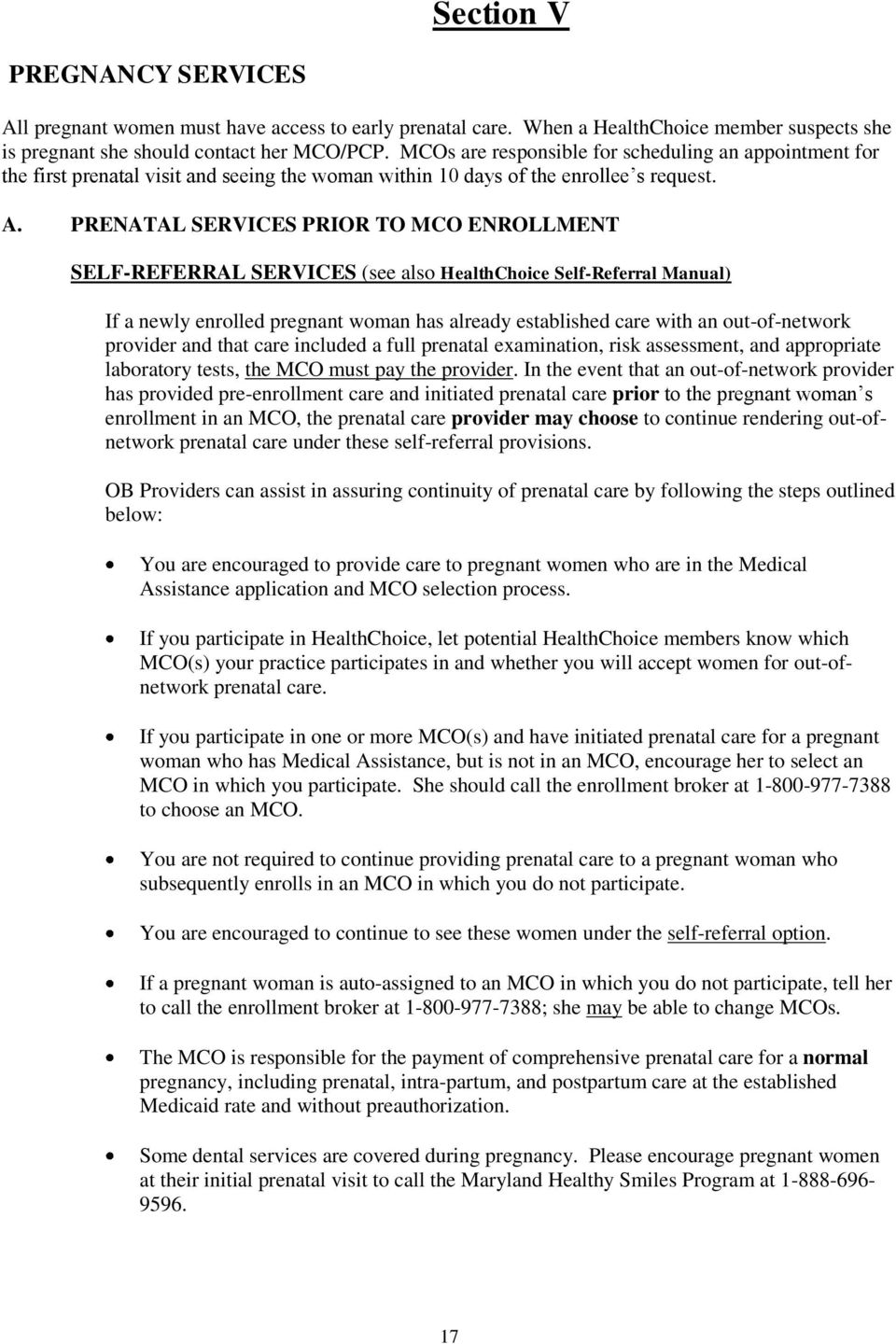 Prenatal Services Prior To Mco Enrollment Selfreferral Services (see Also  Healthchoice Self