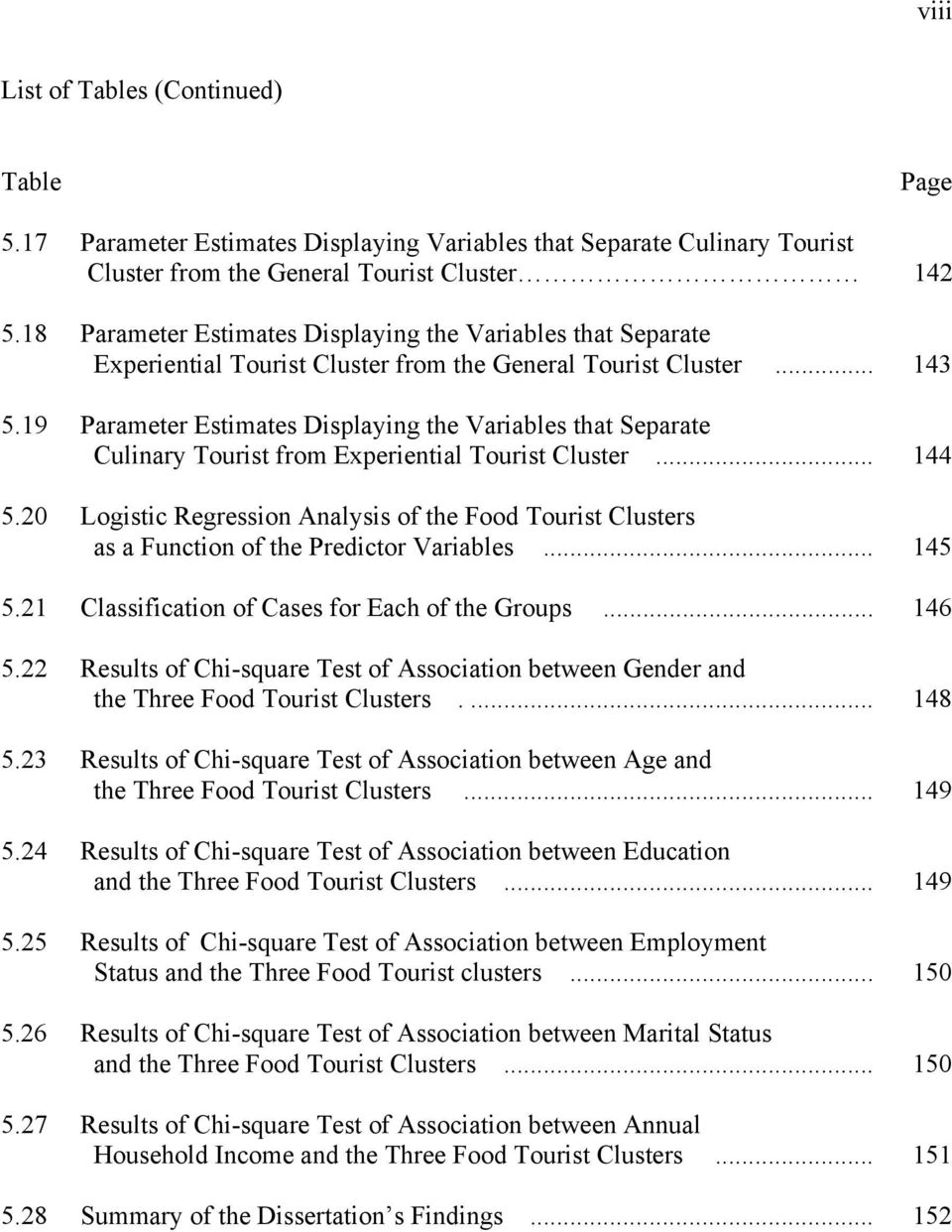 19 Parameter Estimates Displaying the Variables that Separate Culinary Tourist from Experiential Tourist Cluster... 144 5.
