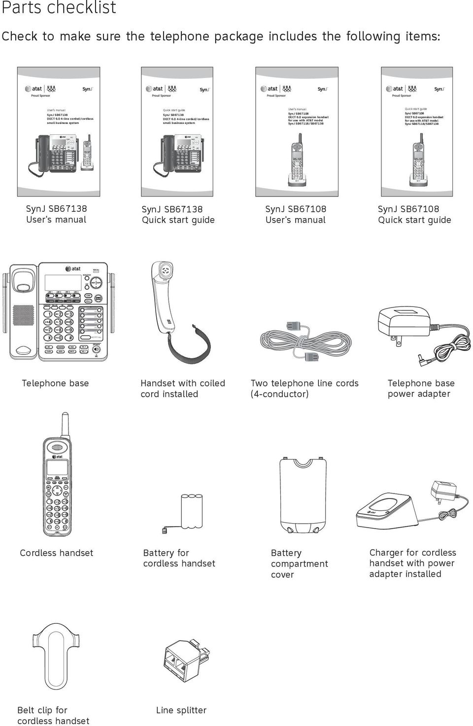 0 4-line corded/cordless small business system SynJ SB67138 User's manual SynJ SB67138 Quick start guide Telephone base Handset with coiled cord installed Cordless handset Battery for cordless