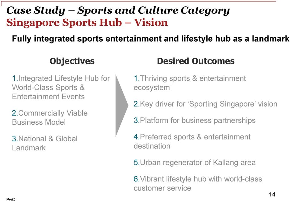 National & Global Landmark Desired Outcomes 1.Thriving sports & entertainment ecosystem 2.Key driver for Sporting Singapore vision 3.