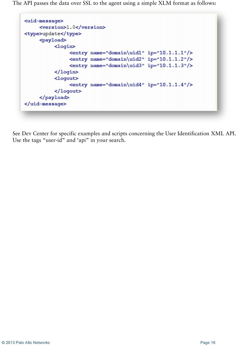 scripts concerning the User Identification XML API.