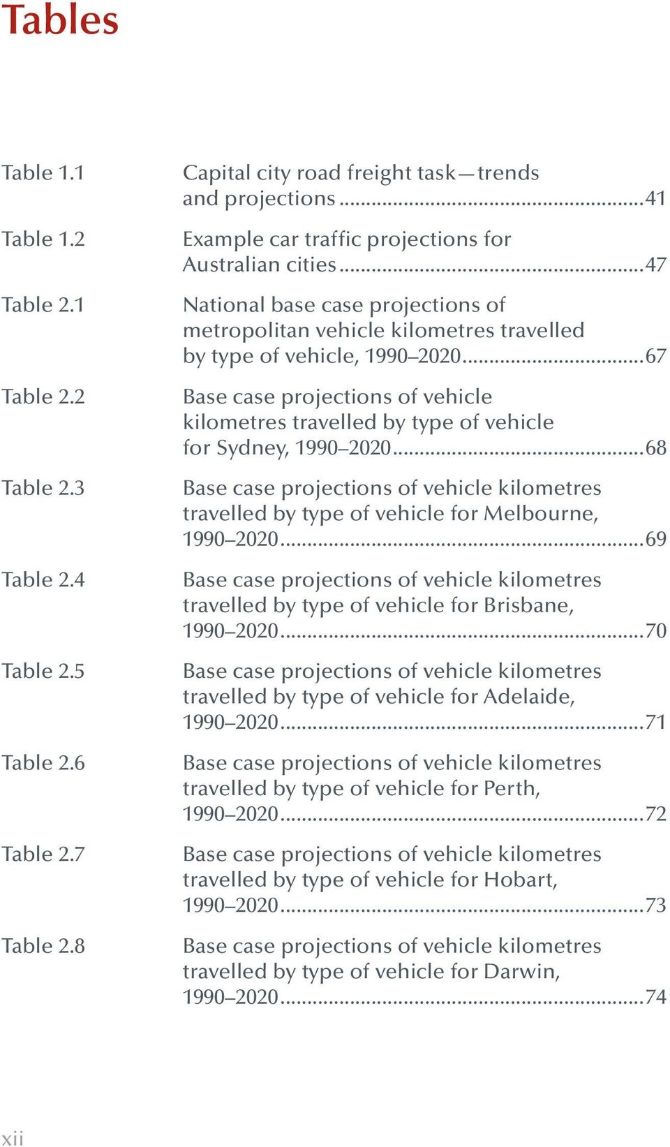 ..67 Base case projections of vehicle kilometres travelled by type of vehicle for Sydney, 1990 2020.