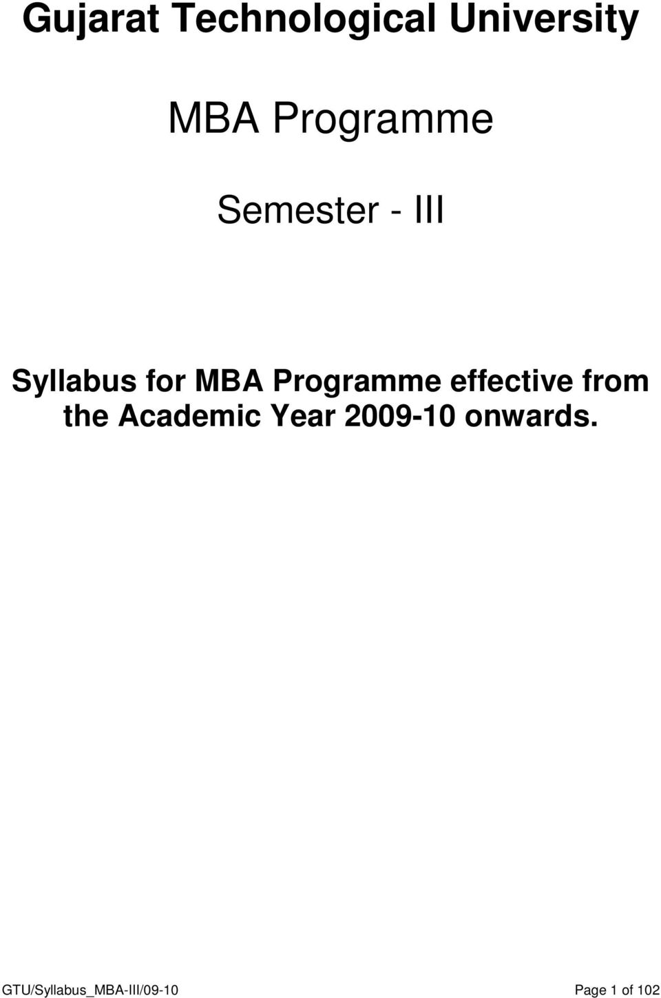 Programme effective from the Academic Year