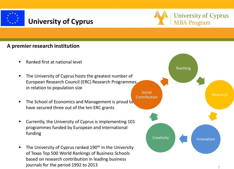 Teaching Research Currently, the University of Cyprus is implementing 101 programmes funded by European and international funding The University of Cyprus ranked 190 th in