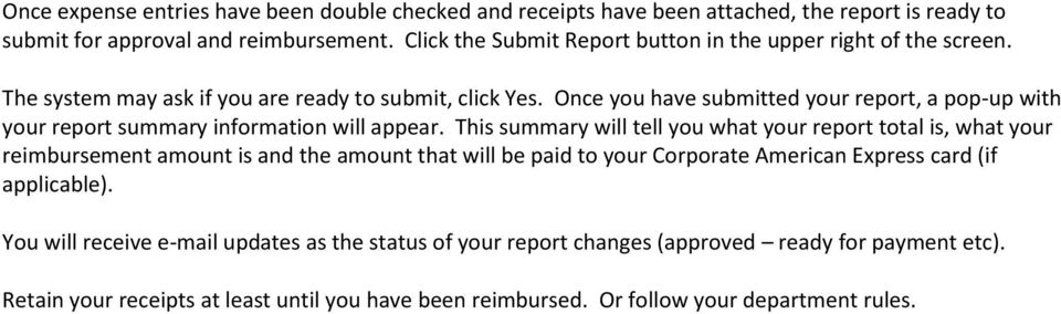 Once you have submitted your report, a pop-up with your report summary information will appear.